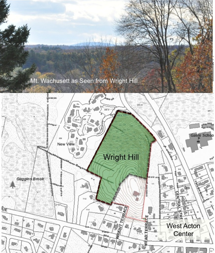 Map and View from Wright Hill Conservation Land